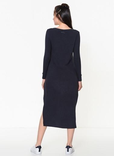 Braez Yırtmaçlı Dar Midi Elbise Lacivert